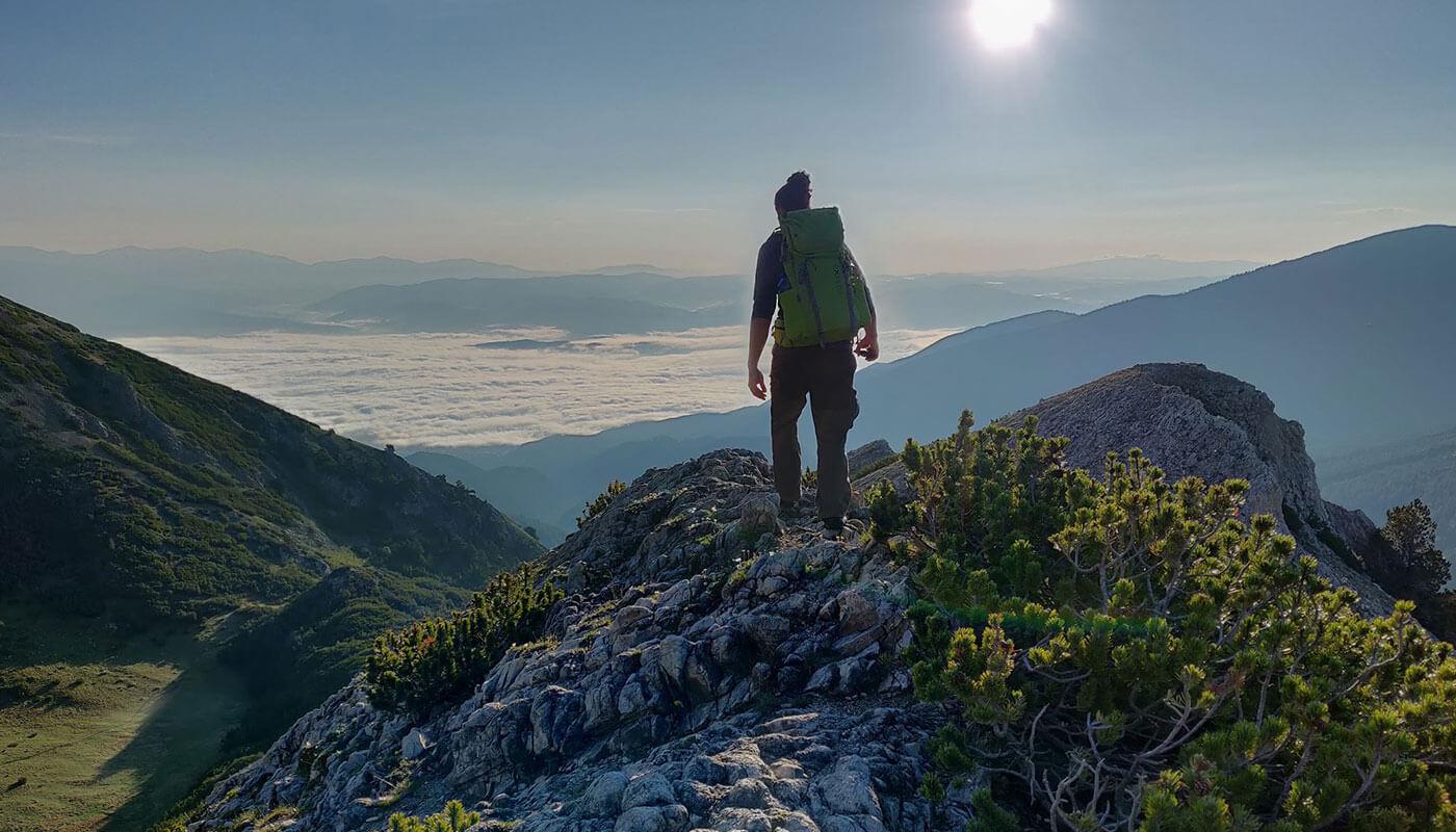 Sebastian mit dem Exped Thunder im Balkan-Gebirge