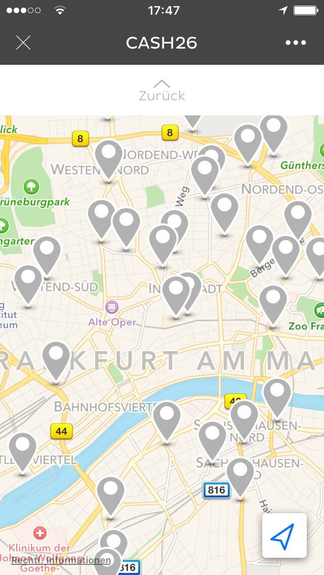 Cash26 Map in der App