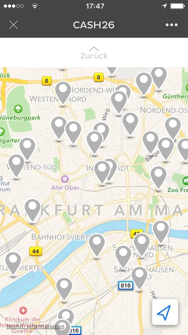 Cash26 Map in der App