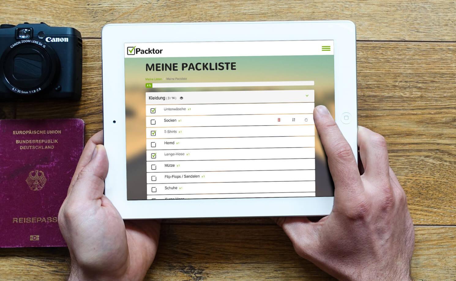 Packliste Urlaub und Reise: Der Packlisten-Generator